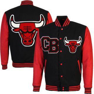 Chicago Bulls Regulator Fleece Full Button Varsity Jacket   Black/Red