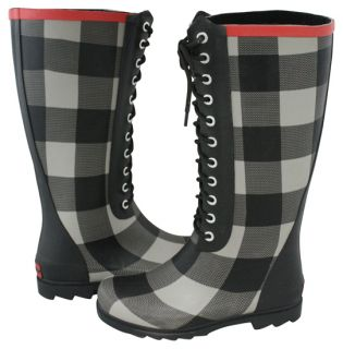 Chooka Signature Buffalo Bone Black Gray Plaid Rubber Rain Boots 7 New