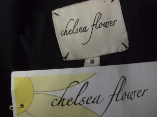 NWT Chelsea Flower  Silk Black $136 Purple trim Low cut neck
