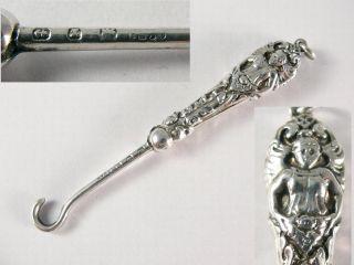 Victorian Silver Art Nouveau Figural GLOVE HOOK. Hallmarked Birmingham