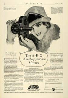 1927 Ad Bell Howell Filmo Antique Movie Camcorder Camera Eastman