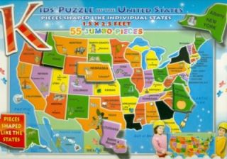 features of kids puzzle of the united states 55 pcs learn u