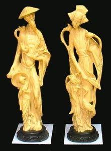 Century Moderne Chinese Statue Man Woman Children Birds Huge