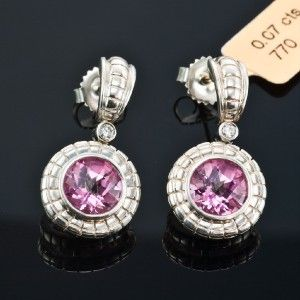 Charles Krypell 14kt White Gold Sterling Silver Pink Topaz Diamond