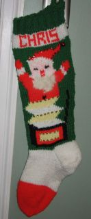 Personalized Christmas Stocking Chris Hand Knit Jack in The Box Santa