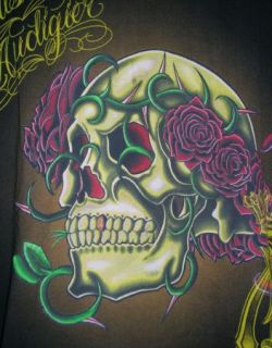 Christian Audigier Los Angeles Skull Roses T Shirt L