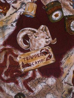 Mountain Cabin Deer Bear Dog Ram Wolf Hunting Camp Fabric   44 x 23