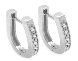 14K white gold childrens huggies diamond earrings