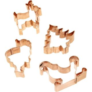 Road 4Pc Christmas/Holiday Tree/Santa/Sleigh Cookie Cutter Set Copper