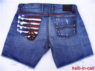 Lucky Brand US Flag Stars Stripes Peace Sign Patch Embr Cut Off Shorts