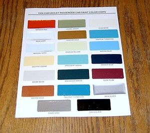 1956 Chevy Paint Chip Chart All Original Colors
