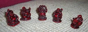 Set of 5 Mini Buddha Figures 5 Different Poses Red Plastic Resin Very