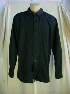 Utility Mens Casual Button Front Shirt Black   size XL   100% Cotton