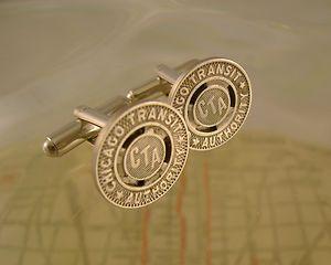 Vintage Authentic Chicago Transit Authority CTA Subway Token Cufflinks