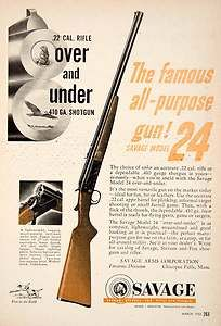 1953 Ad Savage .22 Caliber Rifle Chicopee Falls .410 Gauge Shotgun