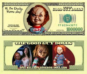 Horror Dollars 1000000 Funny Dollar Bill with Chucky Doll Portrait
