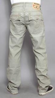 Mens True Religion Jeans Ricky Micro Corduroy Straight Leg Sage 38