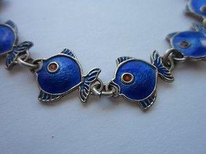 Vintage Christgau Denmark Sterling Silver Blue Enamel Fish Bracelet