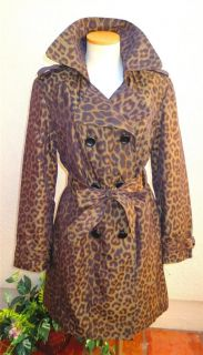 London Fog Womens Leopard Double Breasted Trench Coat Jacket Size