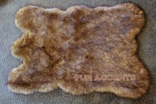 Plush Wolf Skin Area Rug Faux Fur Accent Fake Sheepskin Coyote Pelt