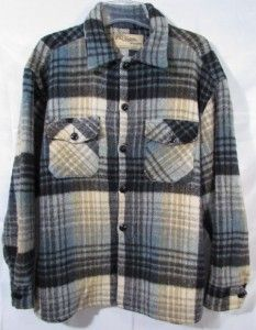 Vtg CHIPPEWA Wool Shirt Sz L XL Traverse Bay Woolen Co Michigan Plaid
