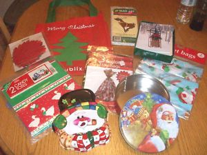 Large Lot Christmas Cookie Bags Tin Yard Art Gift Cards