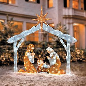 CHRISTMAS LIGHTED NATIVITY SCENE STAR LED LIGHTS YARD DECORATION