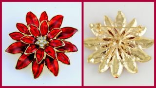 Poinsettia Flower Rhinestone Enamel Gold Christmas Pin Brooch