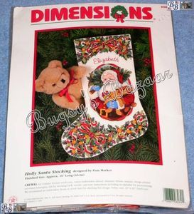 Dimensions Holly Santa Crewel Christmas Stocking Kit