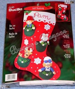 Bucilla Pocket Santa Elf Felt Christmas Stocking Kit
