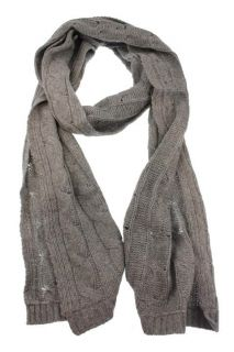 Christopher Fischer New Gray Cashmere Cable Knit Scarf BHFO