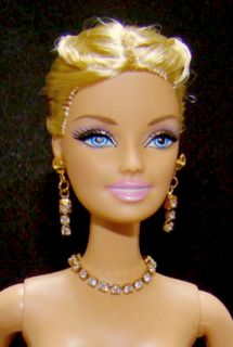 Barbie Doll Necklace Earrings Set w Clear Swarovski Rhinestones