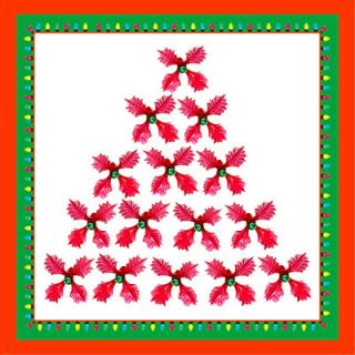 Ceramic Christmas Tree Lights 25 Red Holly Leaf Bulbs