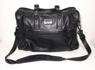 Tumi All Leather Black Messenger Bag Soft Briefcase 17