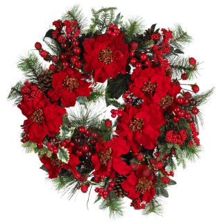 24 Christmas Door Wreath Silk Poinsettia Wreath