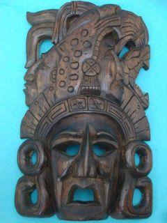 UNIQUE MAYAN GOD CEDARWOOD MASK MEXICAN FOLK ART HAND MADE