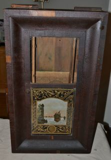 Antique NEW HAVEN OG Weighted Clock Wood Case, Reverse Painted Glass