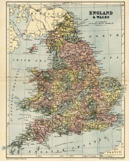 Wales Map Authentic 1895; shows Cities, Counties, Topog, RRs