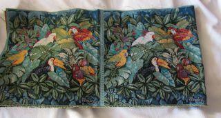 Paul Brent Macaw Toucan Parrot Tropical Bird Jungle Fabric Pillow
