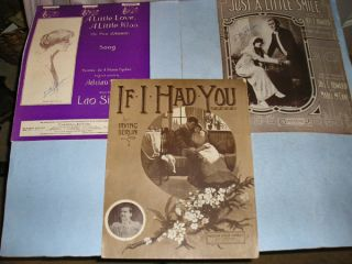 14 Pieces Vintage 1910s Large Format Sheet Music, pretty covers