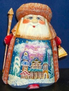 Hand Carved Wood Santa with Painted Churches Christmas Figurine