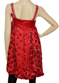 New Chic Grove Womens Sexy Red Leopard Tunic Mini Dress Sz M 10 Medium