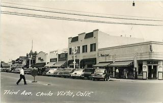 CA, Chula Vista, California, RPPC, Third Avenue, Piggly Wiggly, 50s