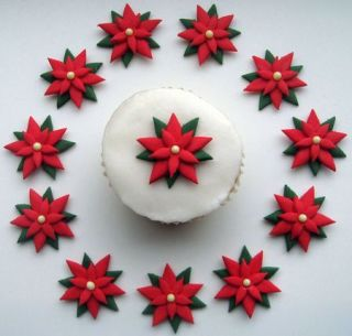 Red Green Poinsettia Flower Christmas Cake Cupcake Decorations