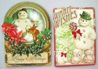 Ephemera Style Snowman Deer Christmas Mouse Gift Note Greeting Cards