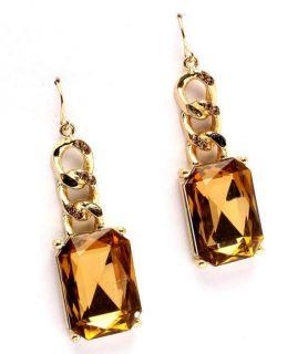 New Citrine Colored Rhinestone Pierced Dangle Earrings Yellow Brown