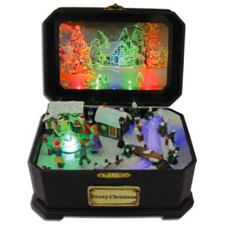 Features of Christmas Music Box Holiday Fiber Optic Lighted Village