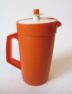 Tupperware 6 Cups Child Kool Aid Pitcher Bright Orange Vacuum Seal Pop