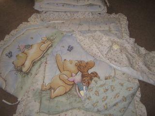 Winnie the pooh classic comforter sheet crib set nursery baby Bumper