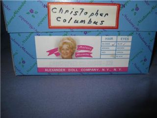 mib w wt 8 madame alexander doll christopher columbus 328